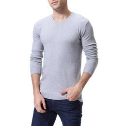 418f858a08e 2018 Autumn Winter Men Basis wear Cotton Slim Fit Sweater V Neck High  Quality Pullover Solid Casual Thick Male Red White Black. Supplier  baimu