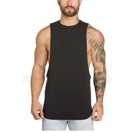 Gimnasio muchacho tanque online-Gimnasios Ropa Bodybuilding Tank Top Hombres Fitness Camiseta sin mangas Camiseta Algodón Muscle Guys Camiseta de la marca para Boy Vest
