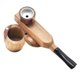 Wholesale pipe tobacco storage - wood tobacco smoking pipes dual layer with storage portable reggae dry herb pipes for dry herb