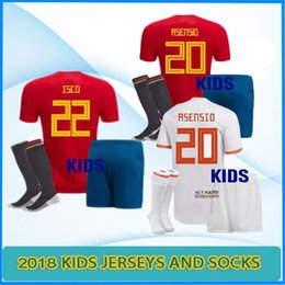 Wholesale Espana Jersey - 2018 spain home Away Soccer Jersey coppa del mondo espana kids kit shirt 18 19 MORATA ISCO A.INIESTA ASENSIO Divise da calcio