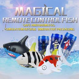 Wholesale Rc Boats Fishing - RC Shark Fish Coke Can RC Mini Electronic Shark Fish Boat 48 pcs ctn