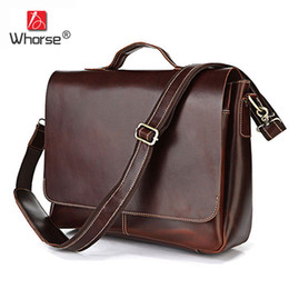 """Wholesale Genuine Leather Bag For Mens - Brand Vintage Crazy Horse Leather Mens Business Briefcase 15"""" Laptop Bag Coffee Cowhide Men Crossbody Messenger Bags For Man W71080"""