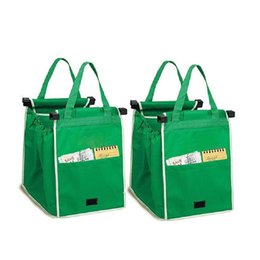 Wholesale pc supermarket - 1 pcs New Hot Sale Large Capacity Green Shopping Bag Foldable Reusable Supermarket Clip To Cart Grocery Grab Shopping Bags