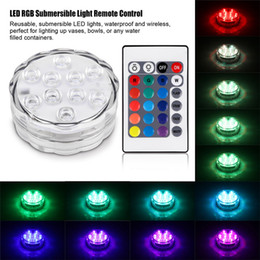 Wholesale Water Submersible Wedding Lights - 10 LED Submersible Candle Lotus Light Party Wedding Underwater Colorful Decoration Lamp With Remote Control Waterproof