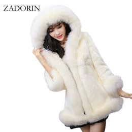 Wholesale Jacket Rabbit Fur Hoods - 2016 Newest Autumn Winter Fur Trim Hooded Faux Rabbit Fur Coat Women Parka Faux Pink Jacket Gilet Pelliccia Women Coats