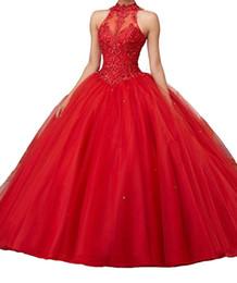 l'abito rosso della sfera di pizzo del collo alto Sconti Abiti Quinceanera in rilievo rosso Abito con collo alto dolce 16 abiti da ballo in tulle con applicazioni di masquerad Abiti da ragazza debuttante in tulle DH4064