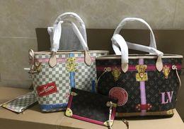 Wholesale waterproof pvc handbags - Women Handbags Brown Letter Large Capacity Travel Duffle Striped Waterproof Beach Bag Shoulder Bag 2pcs