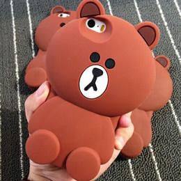 Argentina 3D Bear Case Animales de dibujos animados Lindo juguete Brown Bear Funda de silicona para iPhone x 8plus Funda para teléfono celular Suministro