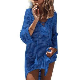 cf7d4434f9 Beach Cover Up Mesh Swimwear Crochet Saida De Praia hollow Swimsuit Summer Dress  Womens Lace Bathing Suit Cover-Ups pareo