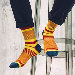 Wholesale Wholesale Colored Socks - Wholesale- 5 Pairs Lot New Style Brand Men Socks Fashion Colored Striped Meias Cotton Sock Cheap Cool Mens Happy Socks Calcetines Hombre