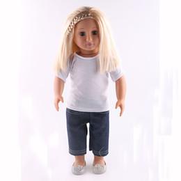 poupées bébé nouveau-né Promotion Poupée à la main blanc T-shirt + costume de jeans Fit 18 pouces American Girl Doll 43cm New Born Baby Zapf Vêtements