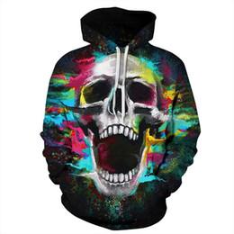 2019 hoodies para crânio feminino Youthcare Hoodie Das Mulheres Hoodie Das Mulheres 3D Crânio impresso Holloween Camisola Hoodies manga Comprida Pulôveres Blusas 003 hoodies para crânio feminino barato