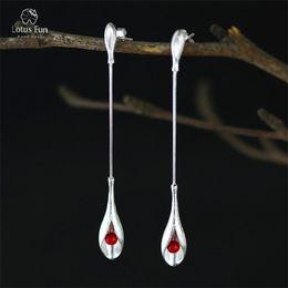 Orecchioni a corallo online-Orecchini pendenti in argento sterling 925 per le donne in argento 925 con corallo rosso e perline lunghe