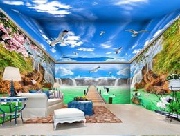 Wholesale crane wedding - 3d stereoscopic wallpaper Waterfall Flowing Forest Crane Pigeon whole house background wall painting