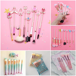 sailor moon set Promo Codes - Different Mermaid Makeup Brushes Sets Sailor Moon Make up Brushes Glitter Bling diamond Makeup Brush Cosmetic Brushes Kit with Bag DHL Free