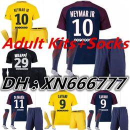 Wholesale Mens Sets - Adult Kits+Socks NEYMAR JR Paris jerseys 2017 2018 MBAPPE CAVANI soccer jersey 17 18 neymar 3RD Football Shirts Mens Set camisetas de futbol