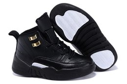 Wholesale youth boys size 12 - NEW Children's 12 XII Basketball Shoes Kids Sports Boys Youths Little Baby Athletic Sneakers Cheap For Sale black Sports Sneakers Size 28-35