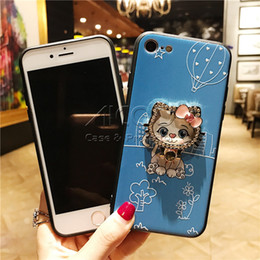 Wholesale Painted Rings - Lovely cats Stand Ring holder TPU Bumper Shockproof Painted PC Back Cover Case For iPhone X 8 7 6s 6 Plus