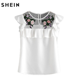 Wholesale Neck Yoke - Wholesale- SHEIN Flower Patched Dot Mesh Yoke Frill Cap Sleeve Top Women Summer White Embroidered Slim Blouse Women's 2017 Blouses