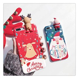 Wholesale Deer Case - Cartoon Toys Case For iphone X Case Christmas Deer Snowman Cover Fashion Soft Cases For iphone 7 8 Plus 6S 6 Plus Coque