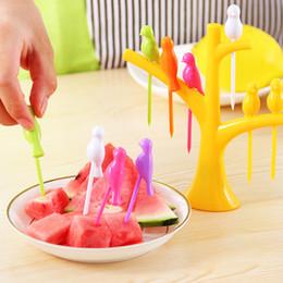 Wholesale decoration fruit fork - Bird Fruit Snack Dessert Forks+ Tree Shape Holder For Party Home Decoration