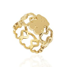 Wholesale Gold Rings For Girls - TL stainless steel bear ring gold plated good quality fast shipping for girl and lady brand jewelry
