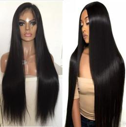 Тонкие кружева парики кожи онлайн-Полное кружево PU вокруг парика 9А шелковистая прямая бразильский девы человеческих волос полное кружево с тонкой кожей парик для негритянка бесплатная доставка