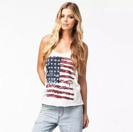 Wholesale Long Sleeve American Flag Shirt - 2018 Women Summer Tshirt USA American Flag Print T-shirt Sleeveless Casual Fashion Shirt Women Female Tops