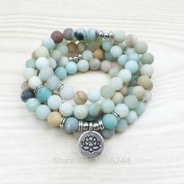 Ohm bijoux en Ligne-Sn1142 Mode Femmes 8mm Mat Amazonite 108 Mala Perles Bracelet Ou Collier Lotus Bouddha Ohm Charme Bracelet Bijoux Cadeau De Noël