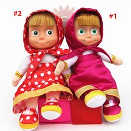 27cm puppe online-Heiße Art 27cm Masha Plüsch Puppen rote Mädchen Puppe russische Martha Marsha PP Baumwolle Spielzeug Kinder Briquedos Geburtstagsgeschenke