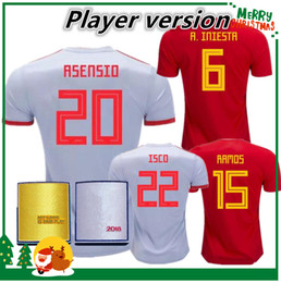 Wholesale quality player - Player version 2018 Spain jersey INIESTA RAMOS home red FABREGAS COSTA SILVA ISCO VAXI 17 18 top quality spain football shirt soccer jersey