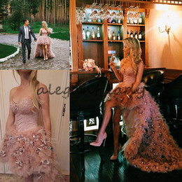 corset blush wedding dress Coupons - Blush Pink Asymmetric Skirt Corset Dusty Rose Wedding Dress 2018 Modest Zuhair Murad Strapless High Low Feather Flower Princess Wedding Gown
