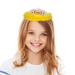 Wholesale crowns tiaras kids plastic - Movie crown Girls feather Hair Accessories imperial kids girls rhinestone crown tiara Children Cosplay Coronation baby feather crown IB700