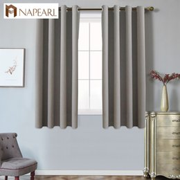 Wholesale grommet kitchen curtains - NAPEARL keqiao supplier simple design 52in x 63in grey blackout curtains for living room short kitchen balcony curtain