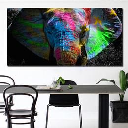 Wholesale RELIABLI Mur Art Impressions Sur Toile Affiches Éléphant Coloré Peintures à L huile Animale Africaine Grande Taille Mur Photos Pour Salon