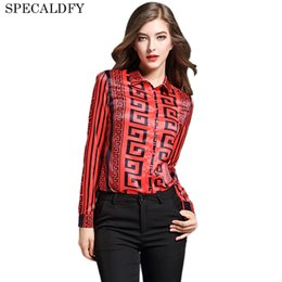 Wholesale Womens Office Shirts - Runway Designer Womens Tops And Blouses Spring 2018 New Fashion Vintage Print Blouse Ladies Office Shirt Blusas Femininas
