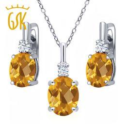 Set di orecchini pendenti in argento 925 con topazio bianco citrino giallo da 4,88 ct supplier yellow topaz pendants da ciondoli in topazio giallo fornitori