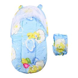 Wholesale Pink White Crib Bedding - Baby Portable crib Bed Mosquito Insect Net Cradle Foldable children room Bed Canopy Cotton-padded Mattress Net With Pillow