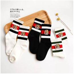 Wholesale Japanese Men Fashion Style - Japanese Style Tiger Embroidery Stripe Socks Streetwear Skateboard Tiger Head Embroidery Stocking Socks Unisex Sport Socks Good Quality