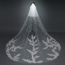 Wholesale Flower Garments Laces - One-tier Cathedral Bridal Veils With Lace Applique Edge Cheap Gorgeous Wedding Veils 2016 Fall Soft Tulle With Flower