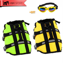 Wholesale Swimming Dogs - HNMSPORT Dog Life Jacket Pet Saver Life Vest Swimming Preserver Dog Puppy Swimwear Surfing Swimming Vest Reflective Stripes