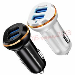 Wholesale Car Double Phone Charger Usb - Quick Car charger Double Dual usb ports 3.1A Car charger Adapter Chargers for iphone 5 6 7 Samsung s7 s8 android phone gps mp3