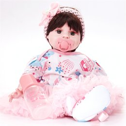 Wholesale Mini Princess Doll Figure - Reborn Baby Dolls Baby Growth Partners, Headband Pink Bow to Accompany Sleep Little Princess 22inch 55cm 008#