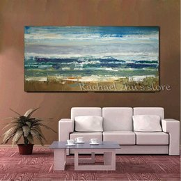 Wholesale Abstract Waves Painted Walls - Large Size Hand Painted Abstract Seasacpe Oil Painting On Canvas Sea Wave Beach Wall Pictures For Living Room Bedroom Home Decor