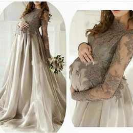 Wholesale Long Maternity Skirts - Elegant Maternity Long Sleeves Dresses Evening Wear Jewel Lace Applique Organza Skirt Plus Size Pregnant Women Prom Gowns Gray Vestidos
