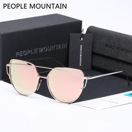 Wholesale hd twin - People Mountain HD Polarized Sunglasses Women Twin-Beams Coating Mirror Flat Panel Lens Glasses Fashion Oculos De Sol Feminino