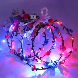 Wholesale light up headband christmas - LED Flashing Rose Flower Festival Headband Veil Party Halloween Christmas Wedding Light-Up Floral Hairband for women DHL