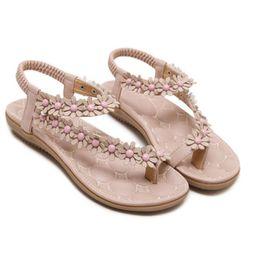 03f4d46a2278 Women sandals Bohemian Ethnic Crystal Flat Sandals Roman Rhinestone  Gladiator Flip Flops Flower Casual Shoes Girl Wedding