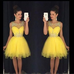 Wholesale modern junior bridesmaid dresses - Sheer Jewel Neck Ball Gowns Short Prom Dresses with Crystals Homecoming Dresses 2018 Formal Party Gowns Knee Length Junior Bridesmaid Dress