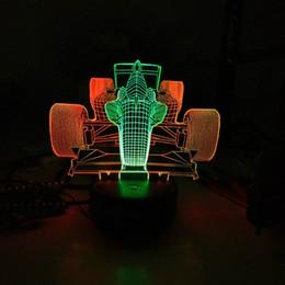 Doppio colore che cambia il controllo del sensore di tocco infiammante F1 Corsa di automobile acrilico 3D LED Night Light LED Lights Dropshipping all'ingrosso da